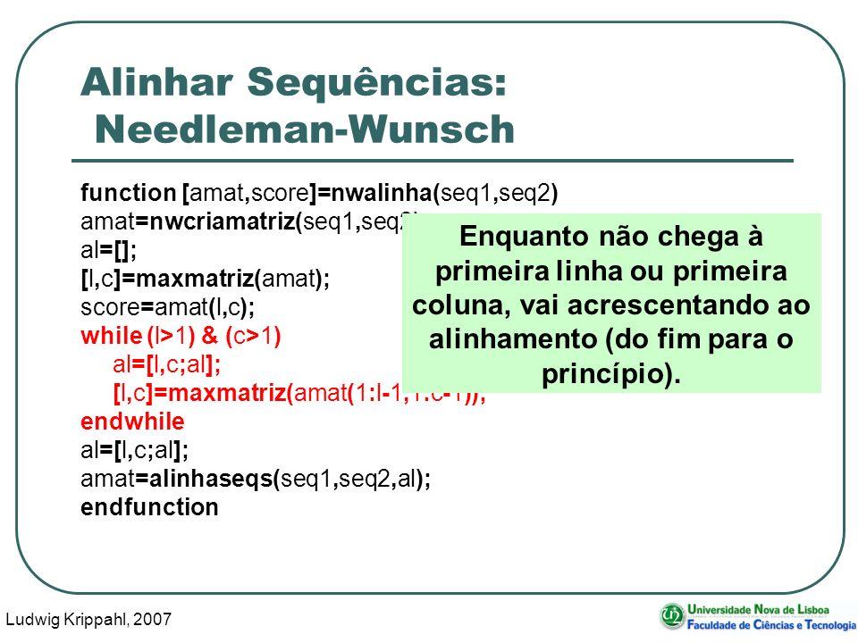 Ludwig Krippahl, 2007 90 Alinhar Sequências: Needleman-Wunsch function [amat,score]=nwalinha(seq1,seq2) amat=nwcriamatriz(seq1,seq2); al=[]; [l,c]=max