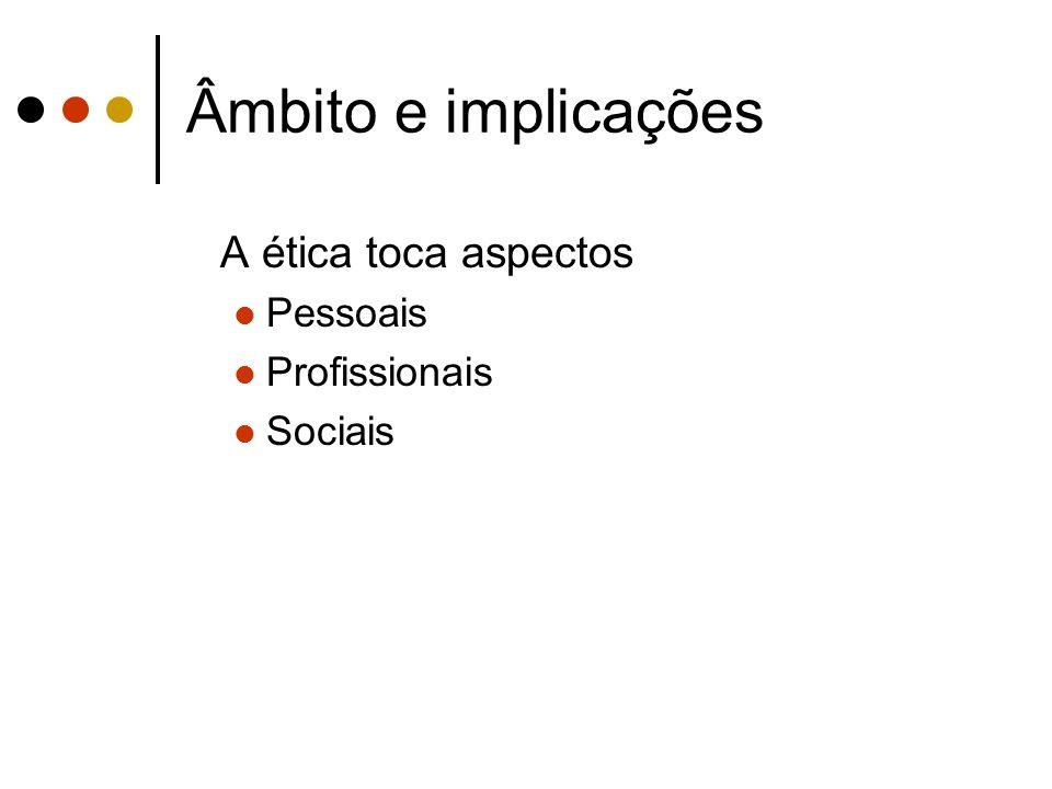 Âmbito e implicações A ética toca aspectos Pessoais Profissionais Sociais