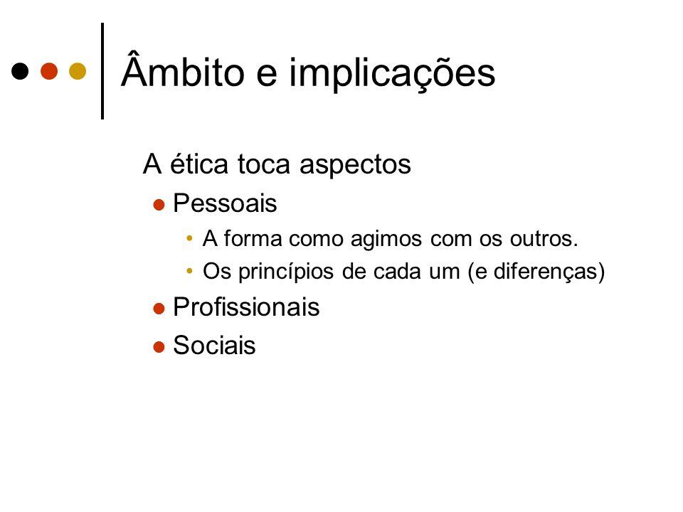 Âmbito e implicações A ética toca aspectos Pessoais A forma como agimos com os outros. Os princípios de cada um (e diferenças) Profissionais Sociais