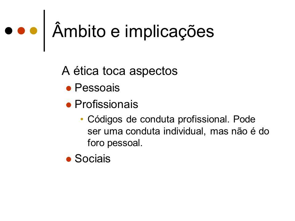 Âmbito e implicações A ética toca aspectos Pessoais Profissionais Códigos de conduta profissional. Pode ser uma conduta individual, mas não é do foro