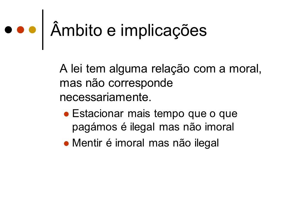 Âmbito e implicações A lei tem alguma relação com a moral, mas não corresponde necessariamente. Estacionar mais tempo que o que pagámos é ilegal mas n