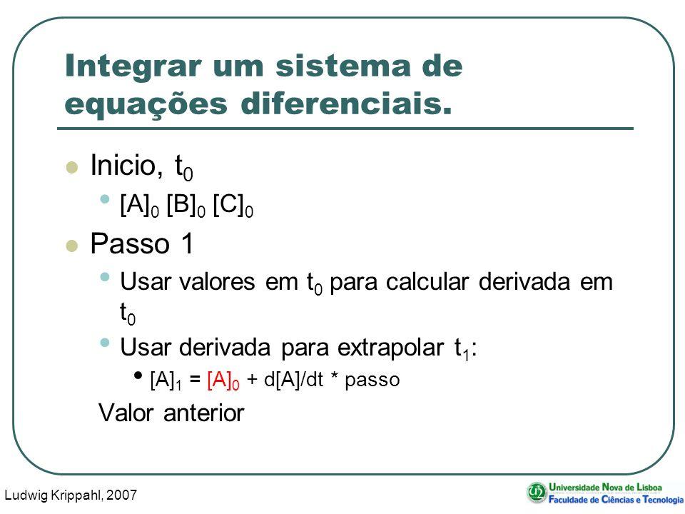 Ludwig Krippahl, 2007 22 Integrar um sistema de equações diferenciais.