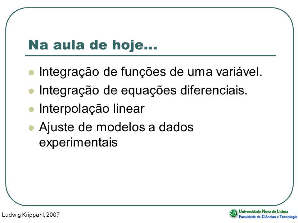 Ludwig Krippahl, 2007 3 Na aula de hoje... Integração de funções de uma variável.