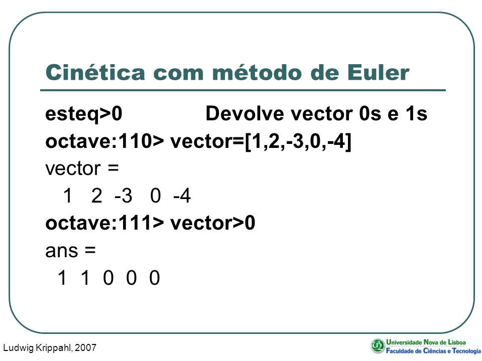 Ludwig Krippahl, 2007 31 Cinética com método de Euler esteq>0Devolve vector 0s e 1s octave:110> vector=[1,2,-3,0,-4] vector = 1 2 -3 0 -4 octave:111> vector>0 ans = 1 1 0 0 0