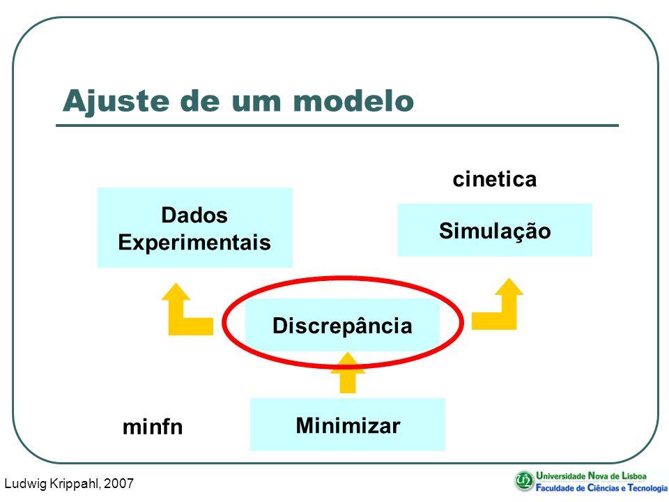 Ludwig Krippahl, 2007 44 Ajuste de um modelo Dados Experimentais Simulação Discrepância Minimizar minfn cinetica