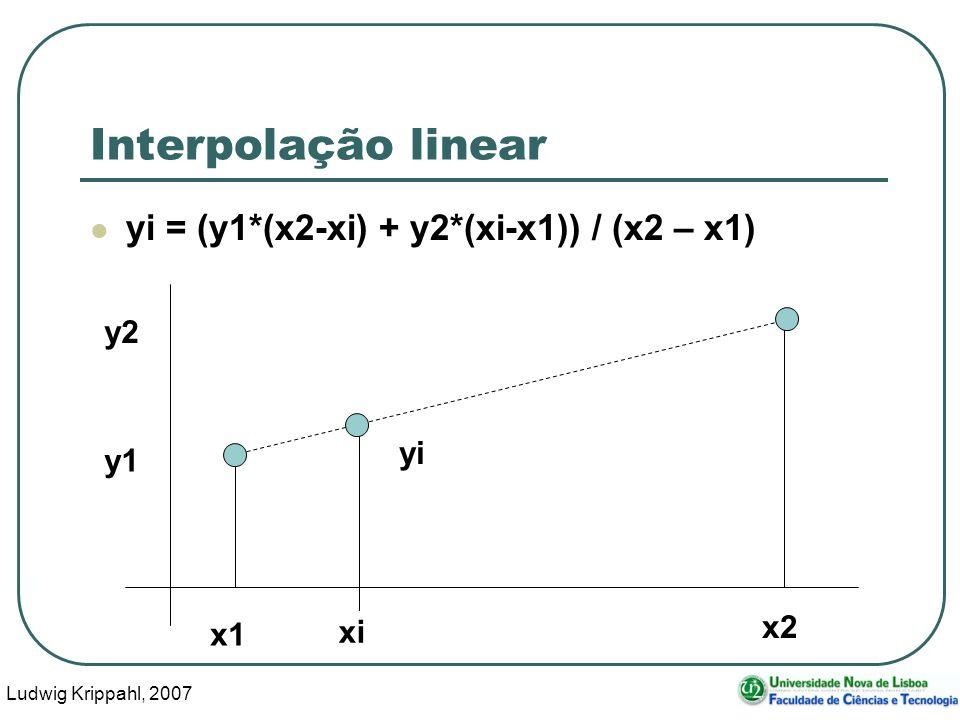 Ludwig Krippahl, 2007 48 Interpolação linear yi = (y1*(x2-xi) + y2*(xi-x1)) / (x2 – x1) xi x1 x2 y1 y2 yi