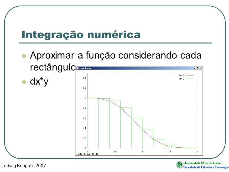 Ludwig Krippahl, 2007 6 Integração numérica Quanto menor dx mais preciso dx*y