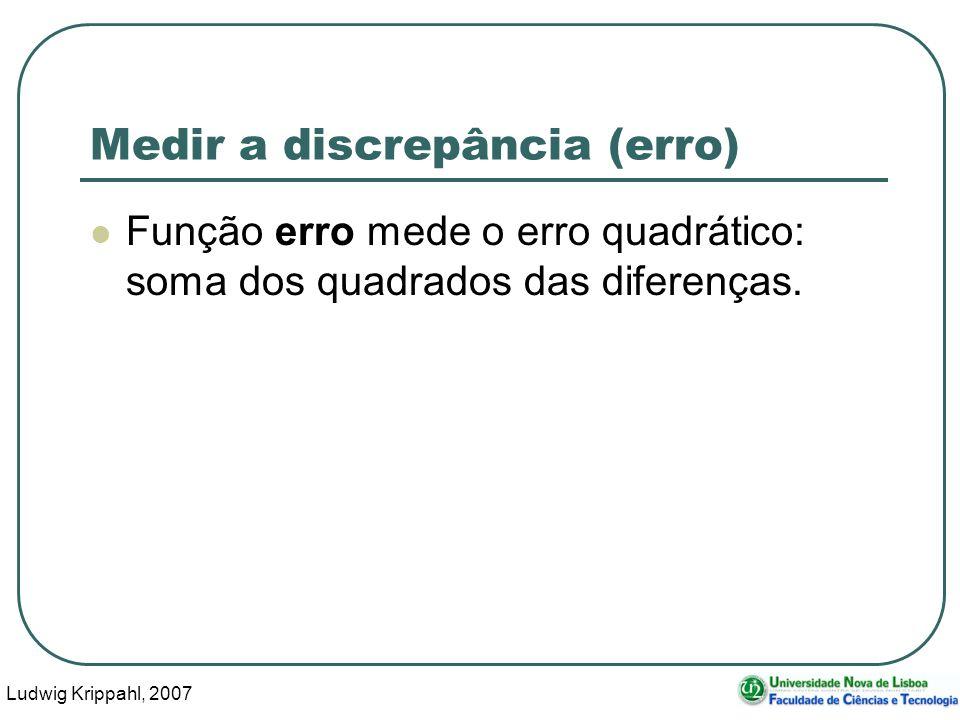 Ludwig Krippahl, 2007 56 Medir a discrepância (erro) Função erro mede o erro quadrático: soma dos quadrados das diferenças.