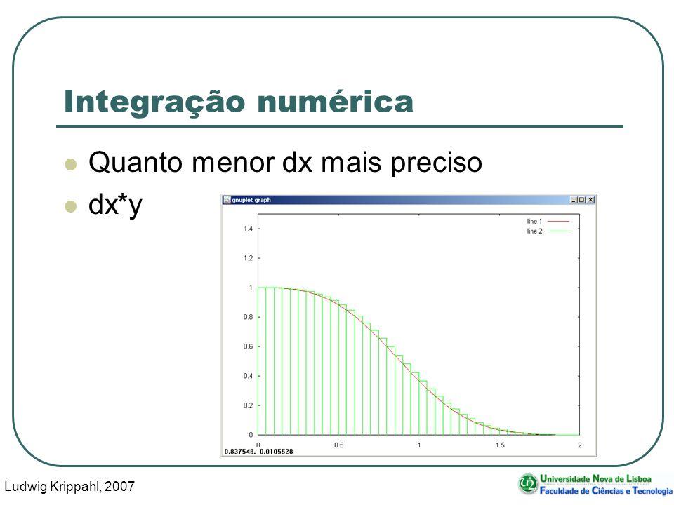 Ludwig Krippahl, 2007 7 Integração numérica function int=intexpxcubo(dx,x0,x1); int=0; for x=x0:dx:x1 int=int+dx*exp(-x^3); endfor endfunction