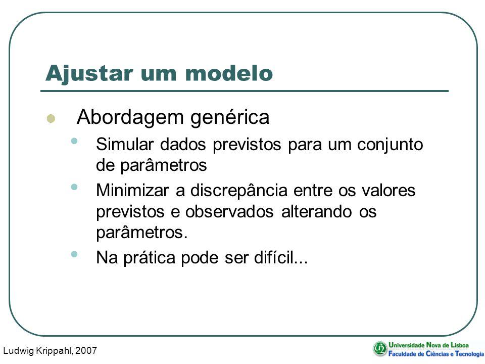 Ludwig Krippahl, 2007 62 Ajustar um modelo Abordagem genérica Simular dados previstos para um conjunto de parâmetros Minimizar a discrepância entre os valores previstos e observados alterando os parâmetros.