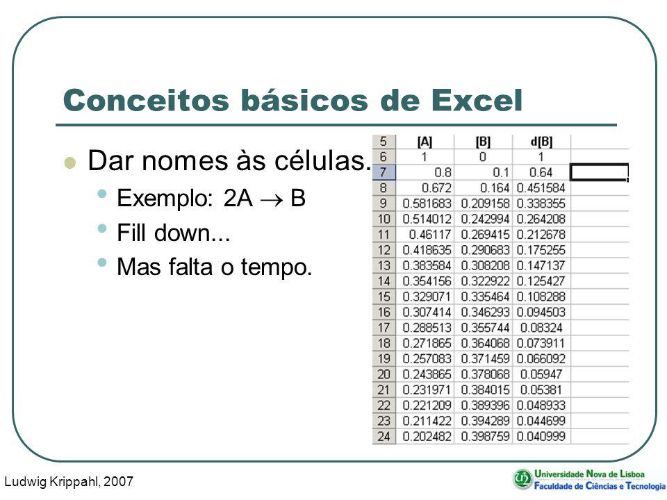 Ludwig Krippahl, 2007 20 Conceitos básicos de Excel Dar nomes às células.
