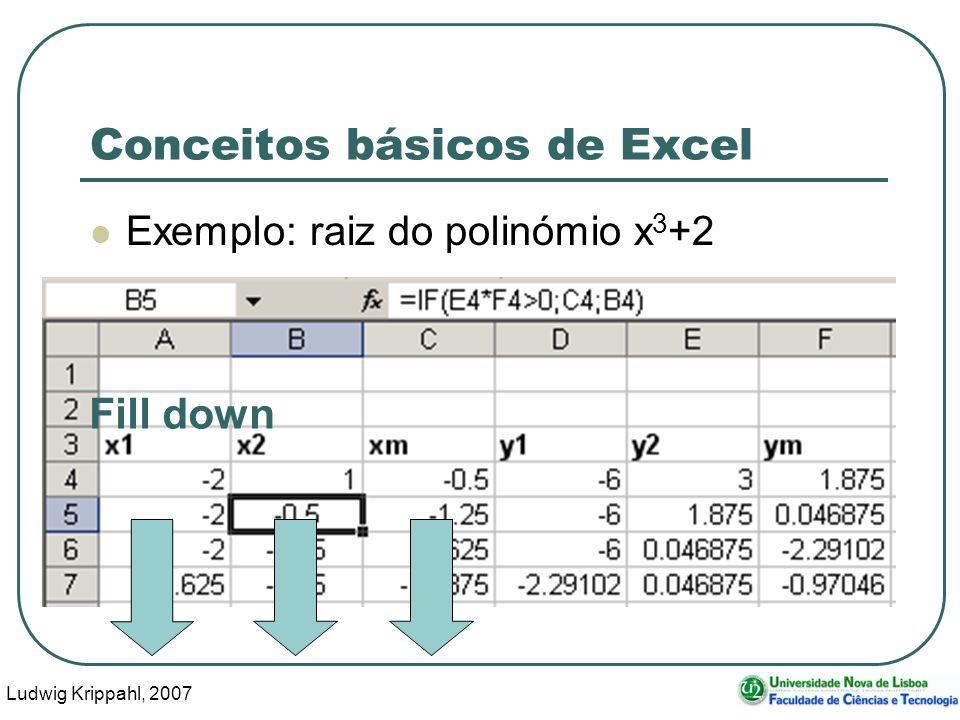 Ludwig Krippahl, 2007 31 Conceitos básicos de Excel Exemplo: raiz do polinómio x 3 +2 Fill down