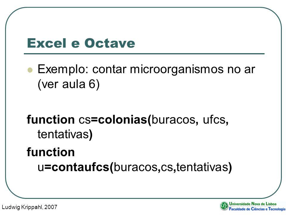 Ludwig Krippahl, 2007 32 Excel e Octave Exemplo: contar microorganismos no ar (ver aula 6) function cs=colonias(buracos, ufcs, tentativas) function u=contaufcs(buracos,cs,tentativas)
