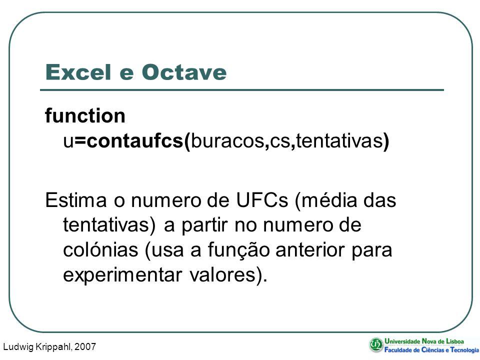 Ludwig Krippahl, 2007 36 Excel e Octave function u=contaufcs(buracos,cs,tentativas) Estima o numero de UFCs (média das tentativas) a partir no numero de colónias (usa a função anterior para experimentar valores).