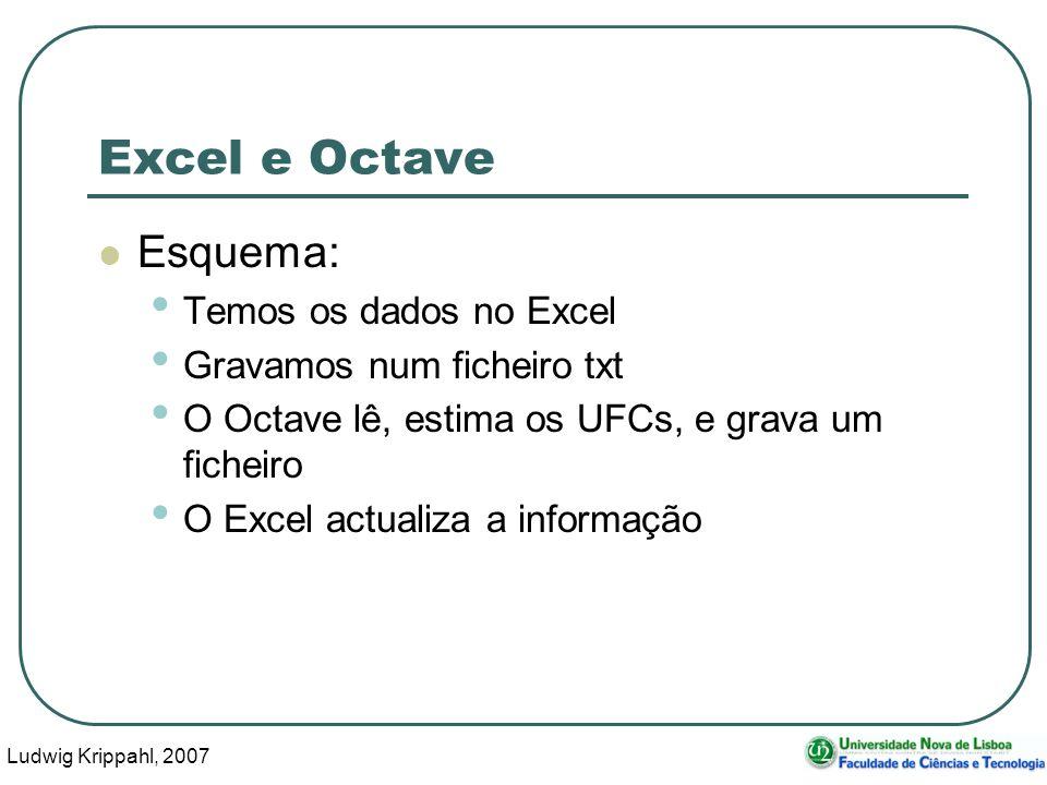 Ludwig Krippahl, 2007 37 Excel e Octave Esquema: Temos os dados no Excel Gravamos num ficheiro txt O Octave lê, estima os UFCs, e grava um ficheiro O Excel actualiza a informação
