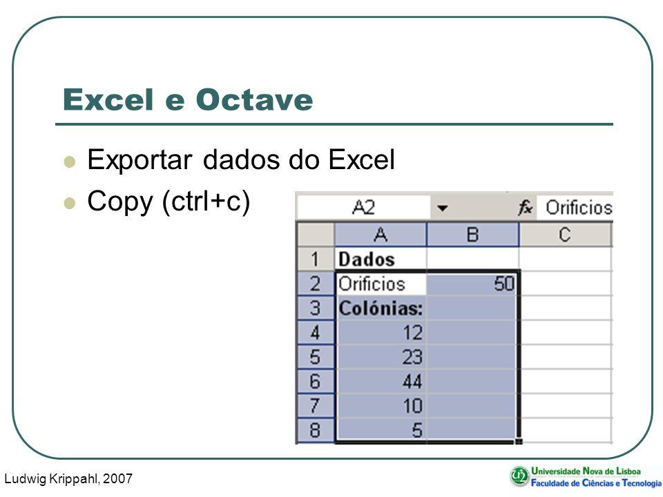 Ludwig Krippahl, 2007 39 Excel e Octave Exportar dados do Excel Copy (ctrl+c)