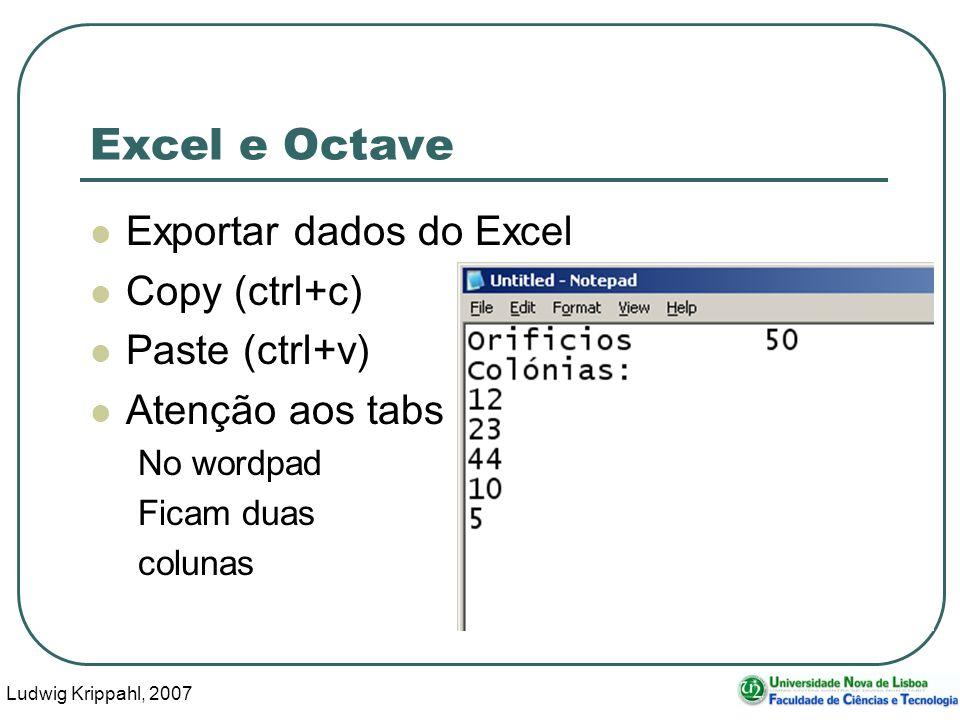 Ludwig Krippahl, 2007 40 Excel e Octave Exportar dados do Excel Copy (ctrl+c) Paste (ctrl+v) Atenção aos tabs No wordpad Ficam duas colunas