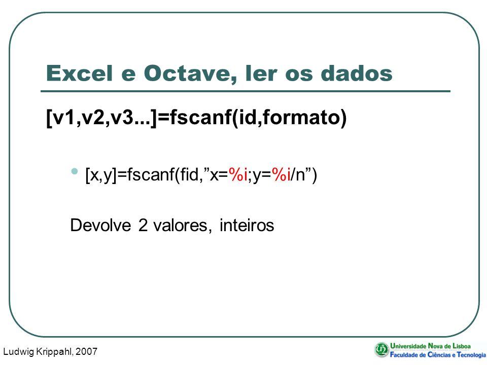 Ludwig Krippahl, 2007 44 Excel e Octave, ler os dados [v1,v2,v3...]=fscanf(id,formato) [x,y]=fscanf(fid,x=%i;y=%i/n) Devolve 2 valores, inteiros