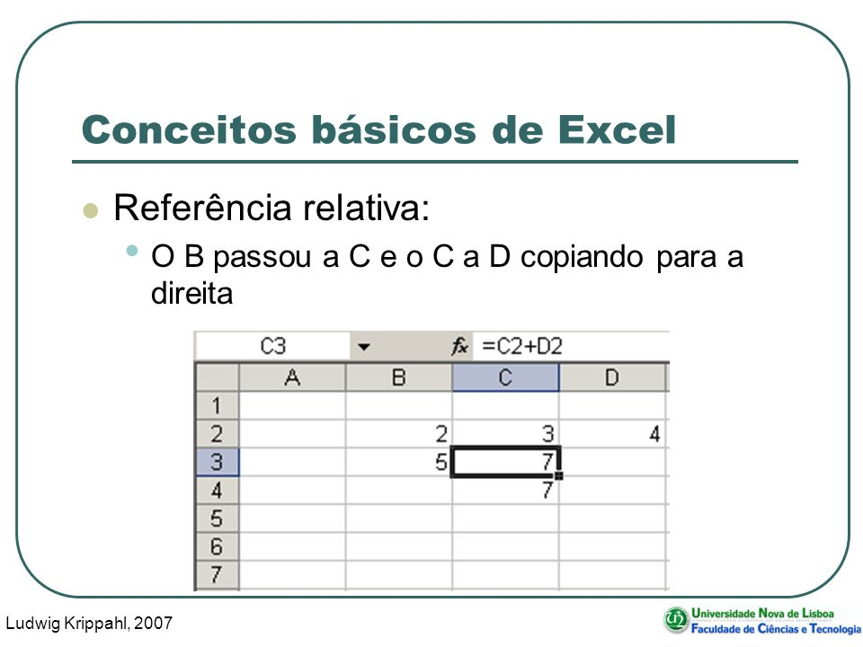 Ludwig Krippahl, 2007 6 Conceitos básicos de Excel Referência relativa: O 2 passou a 3 copiando para baixo