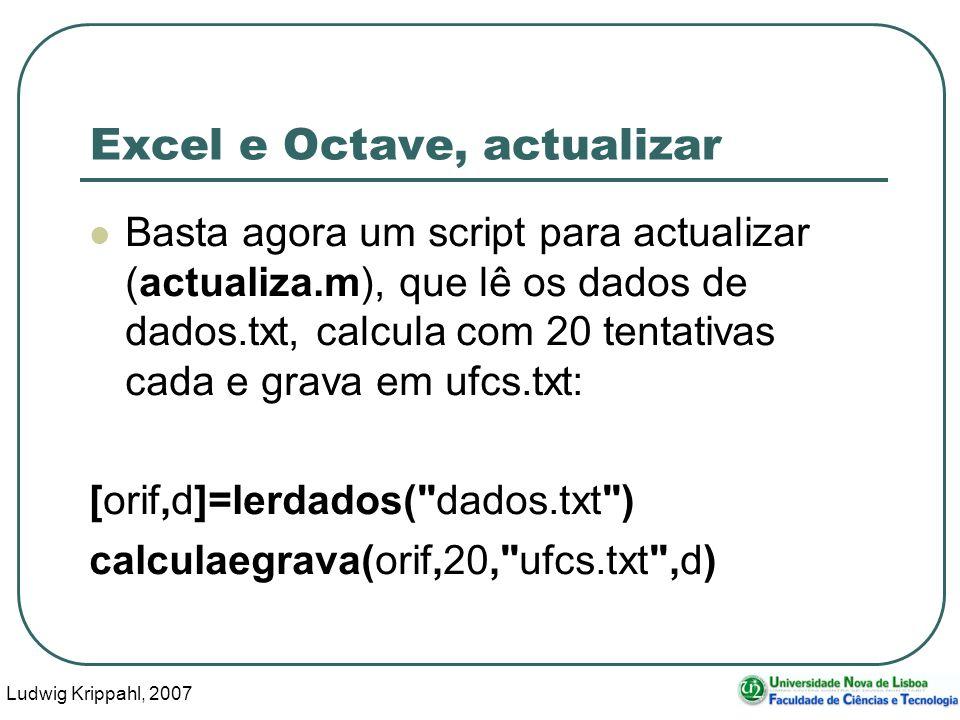Ludwig Krippahl, 2007 51 Excel e Octave, actualizar Basta agora um script para actualizar (actualiza.m), que lê os dados de dados.txt, calcula com 20 tentativas cada e grava em ufcs.txt: [orif,d]=lerdados( dados.txt ) calculaegrava(orif,20, ufcs.txt ,d)