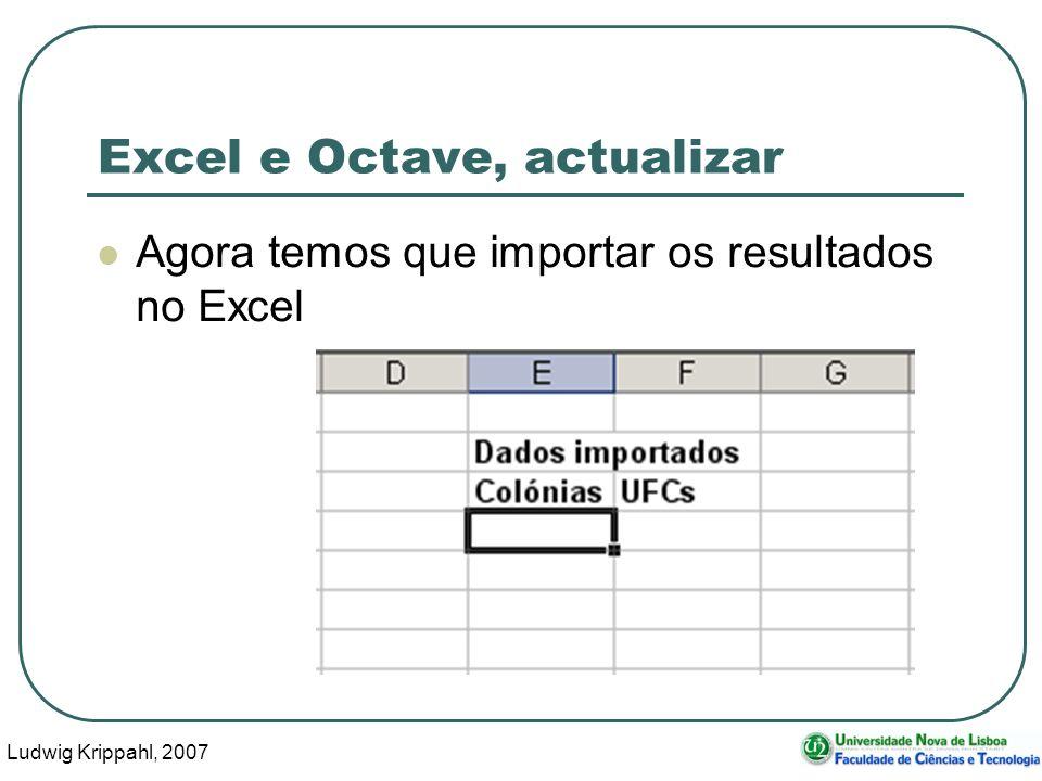 Ludwig Krippahl, 2007 52 Excel e Octave, actualizar Agora temos que importar os resultados no Excel