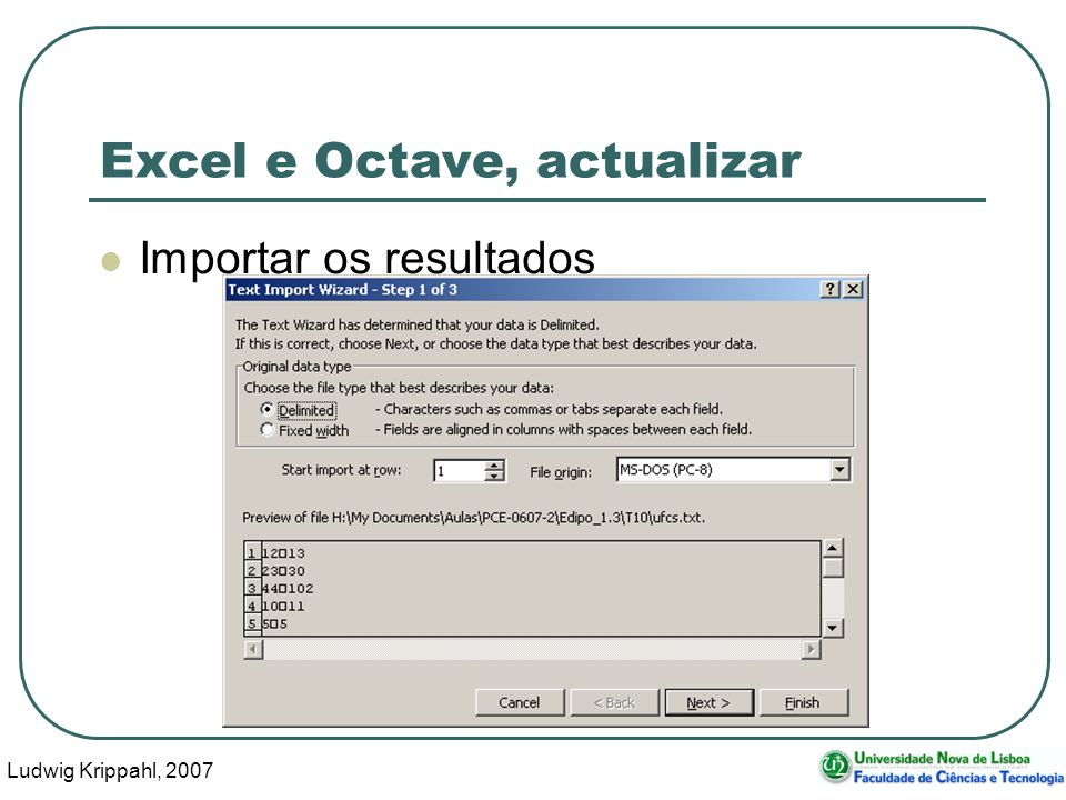 Ludwig Krippahl, 2007 54 Excel e Octave, actualizar Importar os resultados