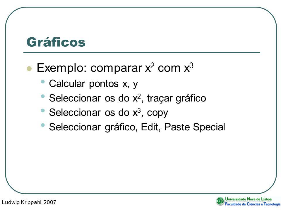 Ludwig Krippahl, 2007 65 Gráficos Exemplo: comparar x 2 com x 3 Calcular pontos x, y Seleccionar os do x 2, traçar gráfico Seleccionar os do x 3, copy Seleccionar gráfico, Edit, Paste Special