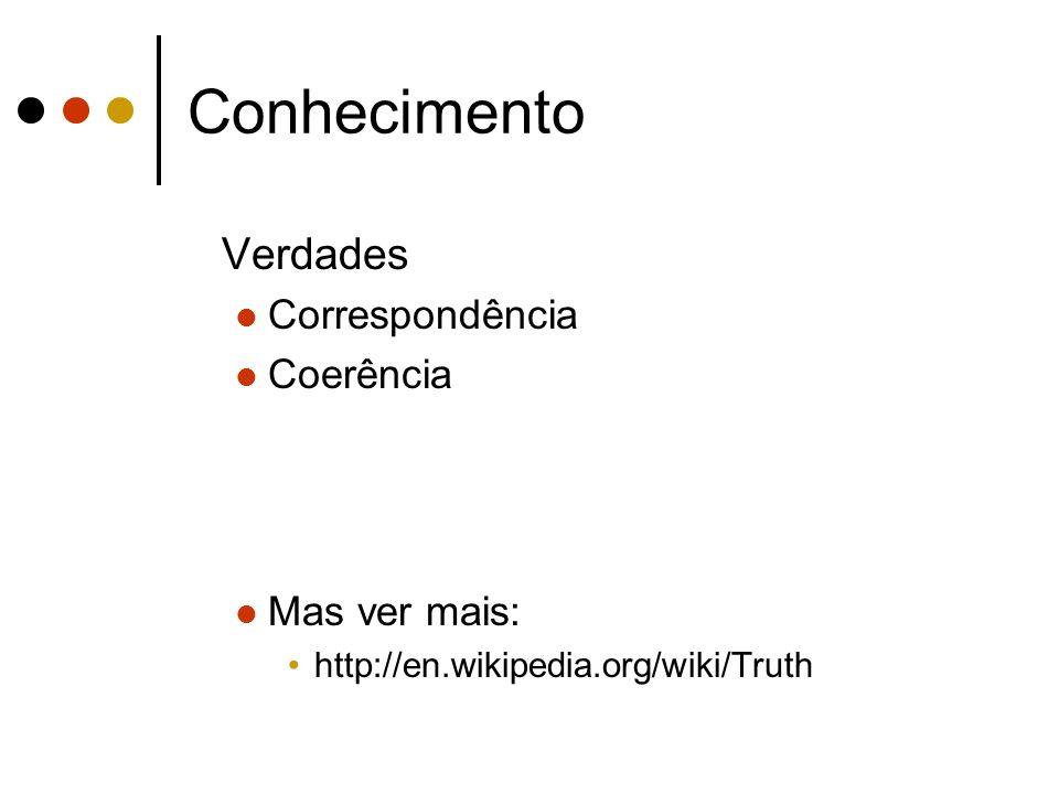 Conhecimento Verdades Correspondência Coerência Mas ver mais: http://en.wikipedia.org/wiki/Truth