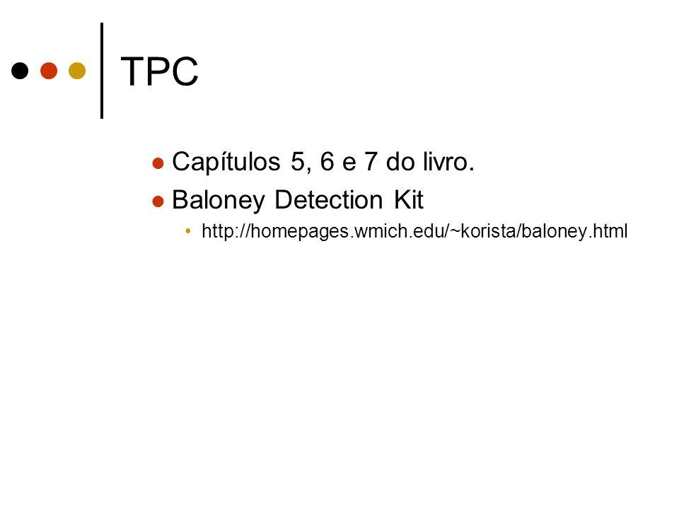 TPC Capítulos 5, 6 e 7 do livro.