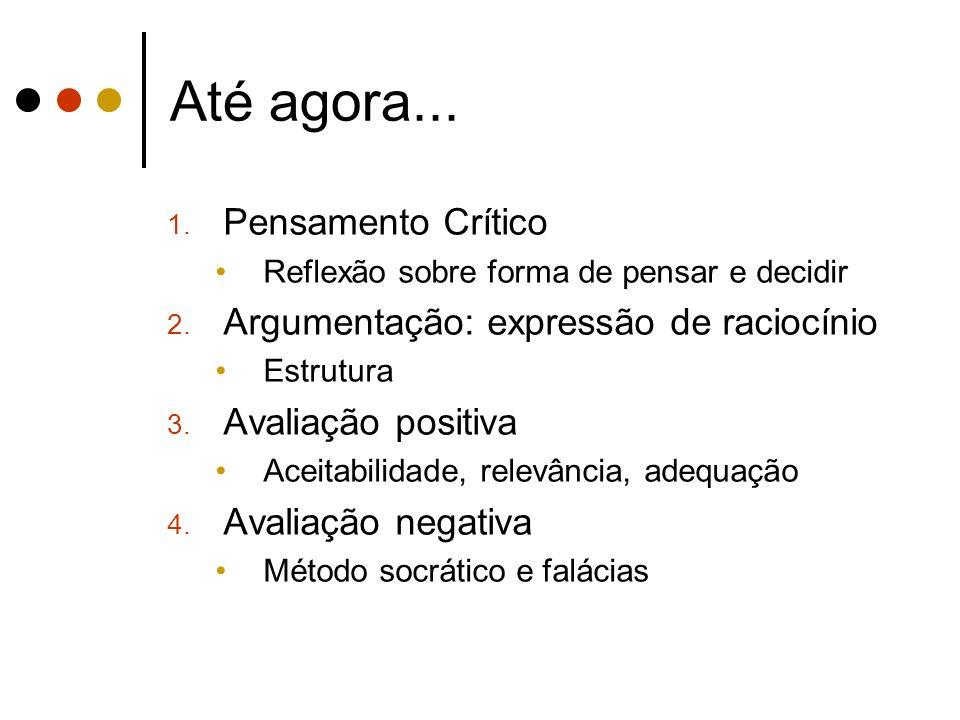 Até agora... 1. Pensamento Crítico Reflexão sobre forma de pensar e decidir 2.