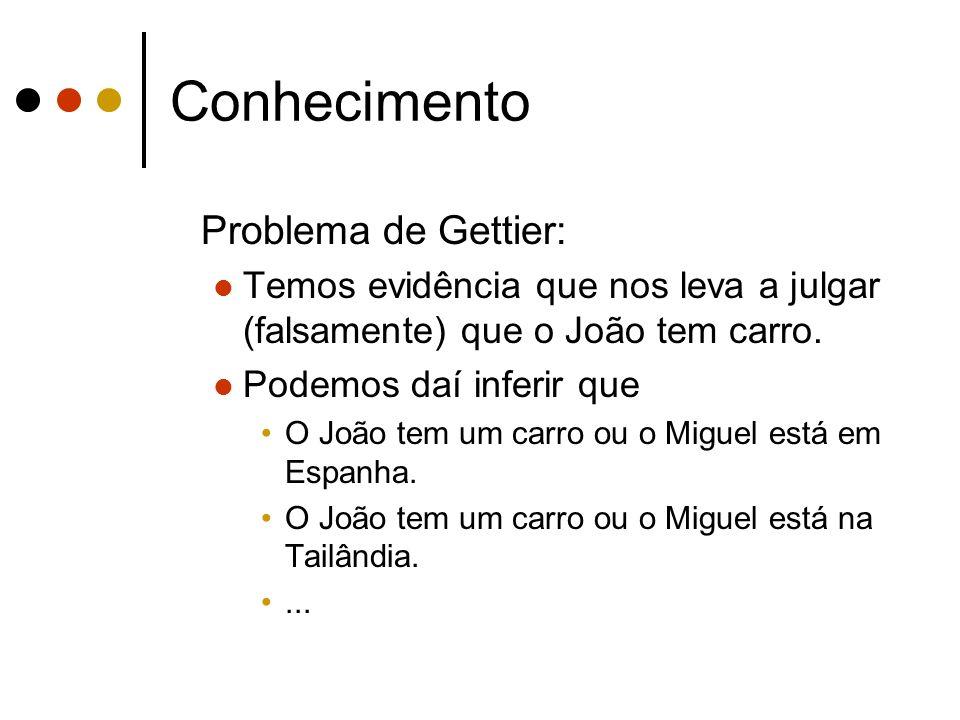 Conhecimento Problema de Gettier: Temos evidência que nos leva a julgar (falsamente) que o João tem carro.