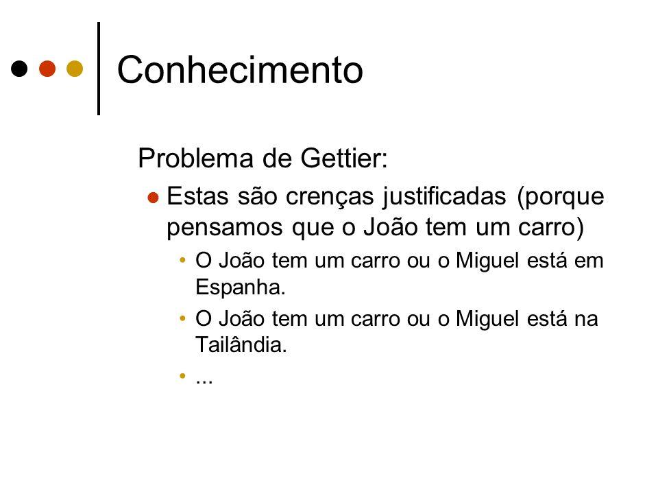 Conhecimento Problema de Gettier: Estas são crenças justificadas (porque pensamos que o João tem um carro) O João tem um carro ou o Miguel está em Espanha.