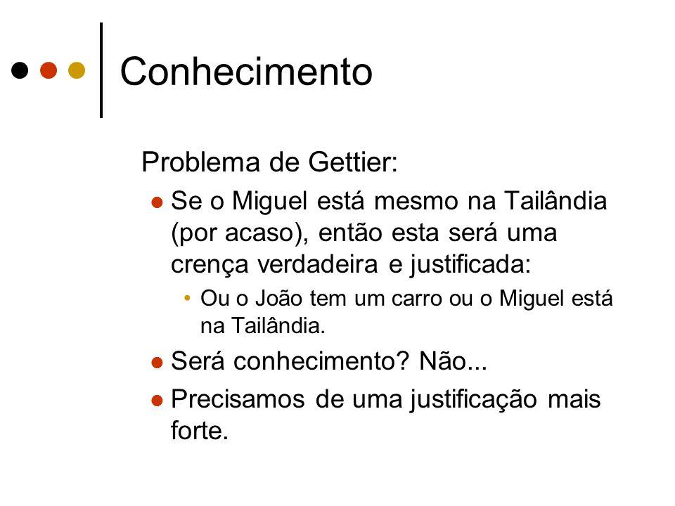 Conhecimento Problema de Gettier: Se o Miguel está mesmo na Tailândia (por acaso), então esta será uma crença verdadeira e justificada: Ou o João tem um carro ou o Miguel está na Tailândia.