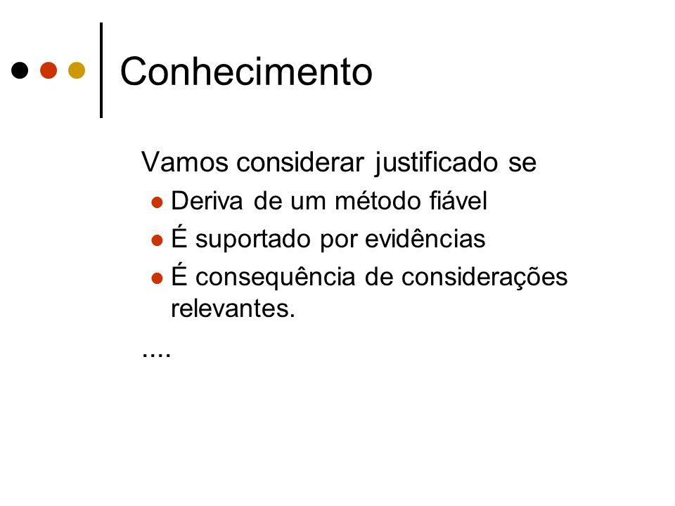 Conhecimento Vamos considerar justificado se Deriva de um método fiável É suportado por evidências É consequência de considerações relevantes.....