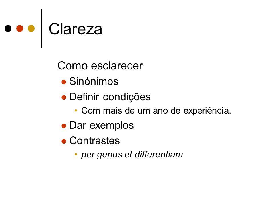 Clareza Como esclarecer Sinónimos Definir condições Com mais de um ano de experiência.