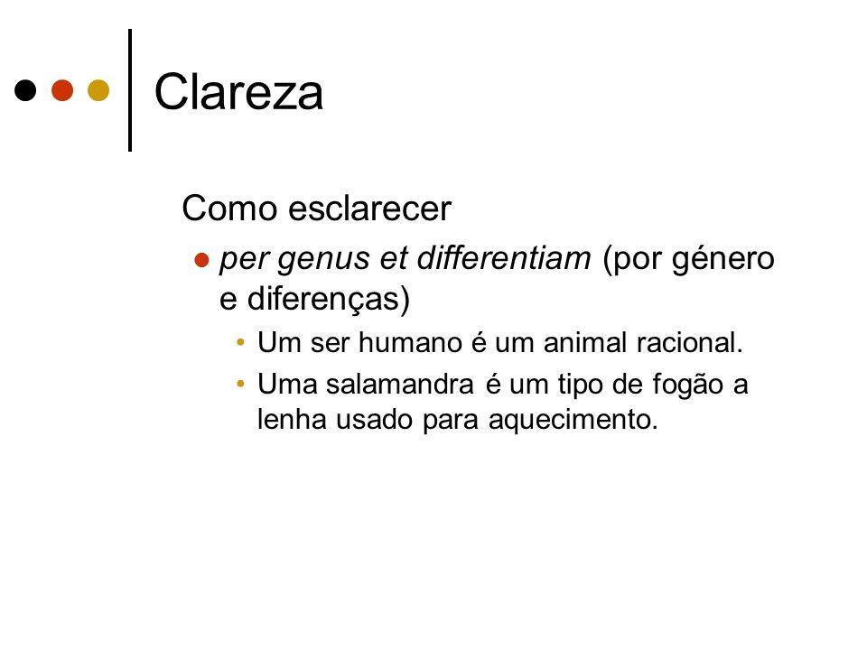 Clareza Como esclarecer per genus et differentiam (por género e diferenças) Um ser humano é um animal racional.