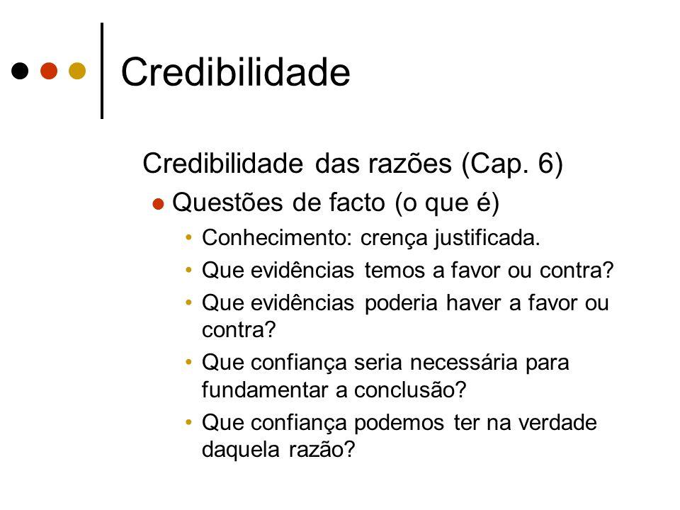 Credibilidade Credibilidade das razões (Cap.