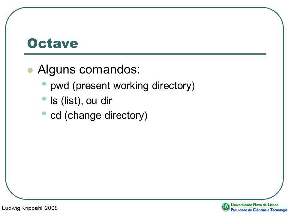 Ludwig Krippahl, 2008 15 Octave Alguns comandos: pwd (present working directory) ls (list), ou dir cd (change directory)