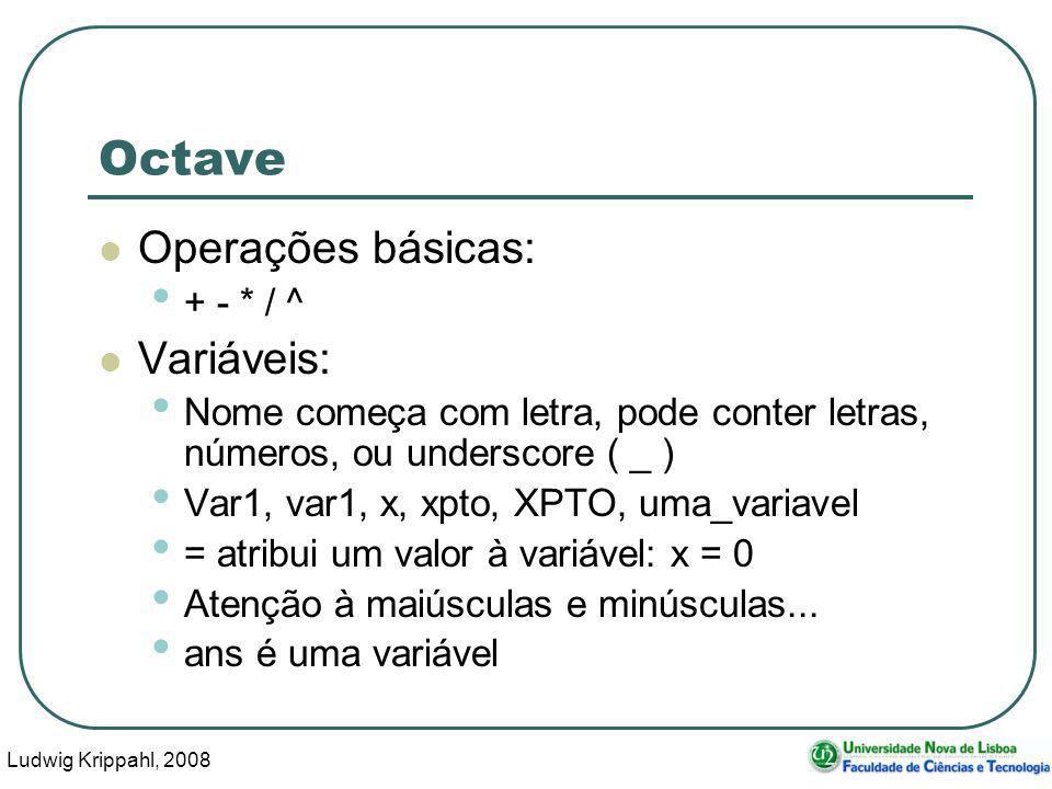 Ludwig Krippahl, 2008 19 Octave Operações básicas: + - * / ^ Variáveis: Nome começa com letra, pode conter letras, números, ou underscore ( _ ) Var1, var1, x, xpto, XPTO, uma_variavel = atribui um valor à variável: x = 0 Atenção à maiúsculas e minúsculas...