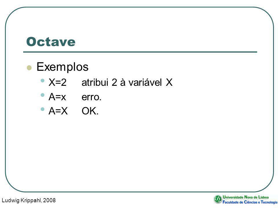 Ludwig Krippahl, 2008 20 Octave Exemplos X=2atribui 2 à variável X A=x erro. A=XOK.
