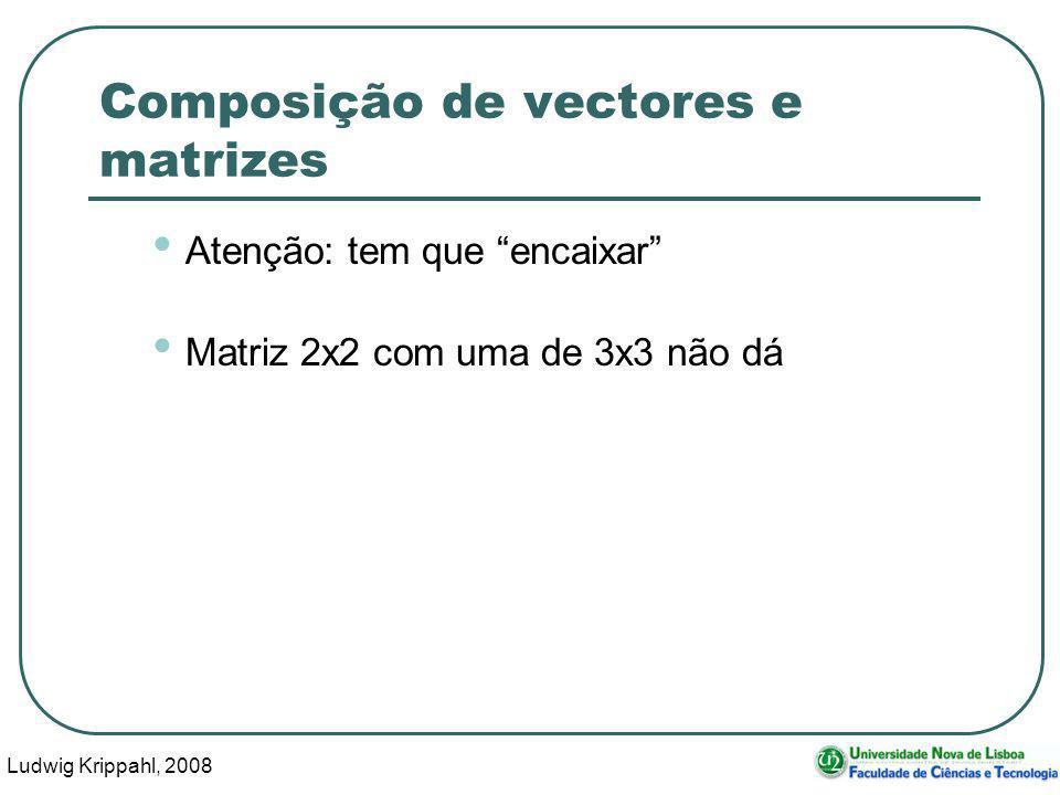 Ludwig Krippahl, 2008 29 Composição de vectores e matrizes Atenção: tem que encaixar Matriz 2x2 com uma de 3x3 não dá