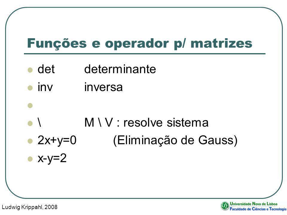 Ludwig Krippahl, 2008 44 Funções e operador p/ matrizes detdeterminante invinversa \M \ V : resolve sistema 2x+y=0(Eliminação de Gauss) x-y=2