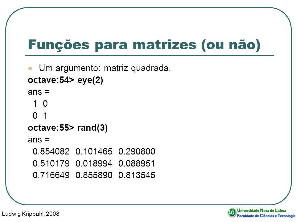 Ludwig Krippahl, 2008 48 Funções para matrizes (ou não) Um argumento: matriz quadrada.