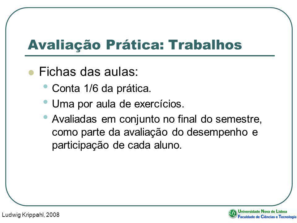 Ludwig Krippahl, 2008 6 Avaliação Prática: Trabalhos Fichas das aulas: Conta 1/6 da prática.