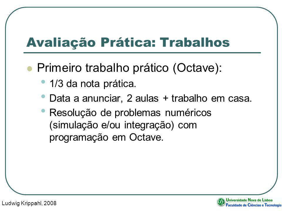 Ludwig Krippahl, 2008 7 Avaliação Prática: Trabalhos Primeiro trabalho prático (Octave): 1/3 da nota prática.