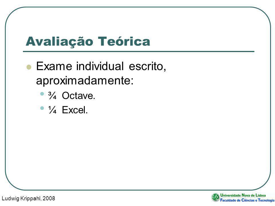 Ludwig Krippahl, 2008 9 Avaliação Teórica Exame individual escrito, aproximadamente: ¾ Octave.