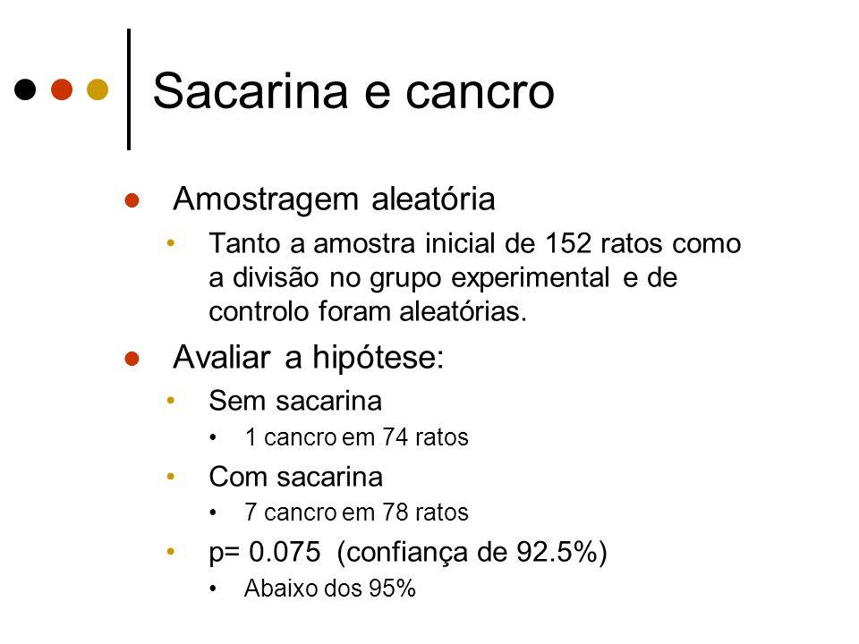 Sacarina e cancro Amostragem aleatória Tanto a amostra inicial de 152 ratos como a divisão no grupo experimental e de controlo foram aleatórias.