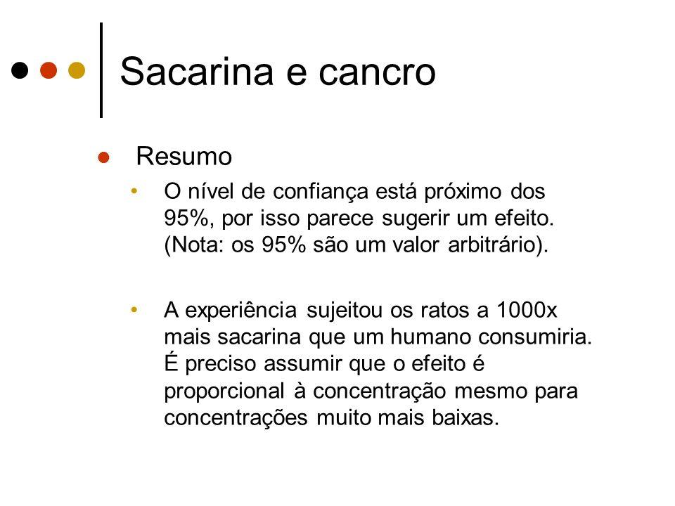 Sacarina e cancro Resumo O nível de confiança está próximo dos 95%, por isso parece sugerir um efeito.