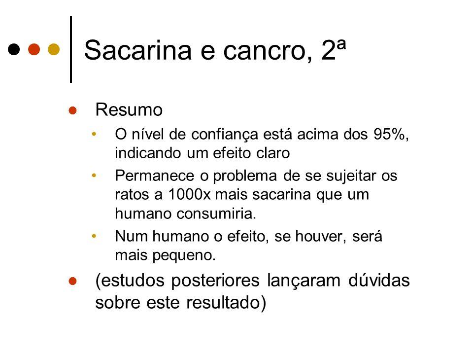 Sacarina e cancro, 2ª Resumo O nível de confiança está acima dos 95%, indicando um efeito claro Permanece o problema de se sujeitar os ratos a 1000x mais sacarina que um humano consumiria.