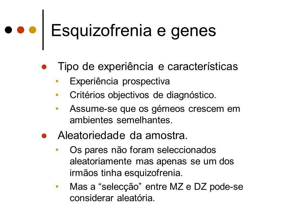 Esquizofrenia e genes Tipo de experiência e características Experiência prospectiva Critérios objectivos de diagnóstico.
